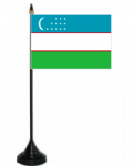 Uzbekistan Desk / Table Flag with plastic stand and base.